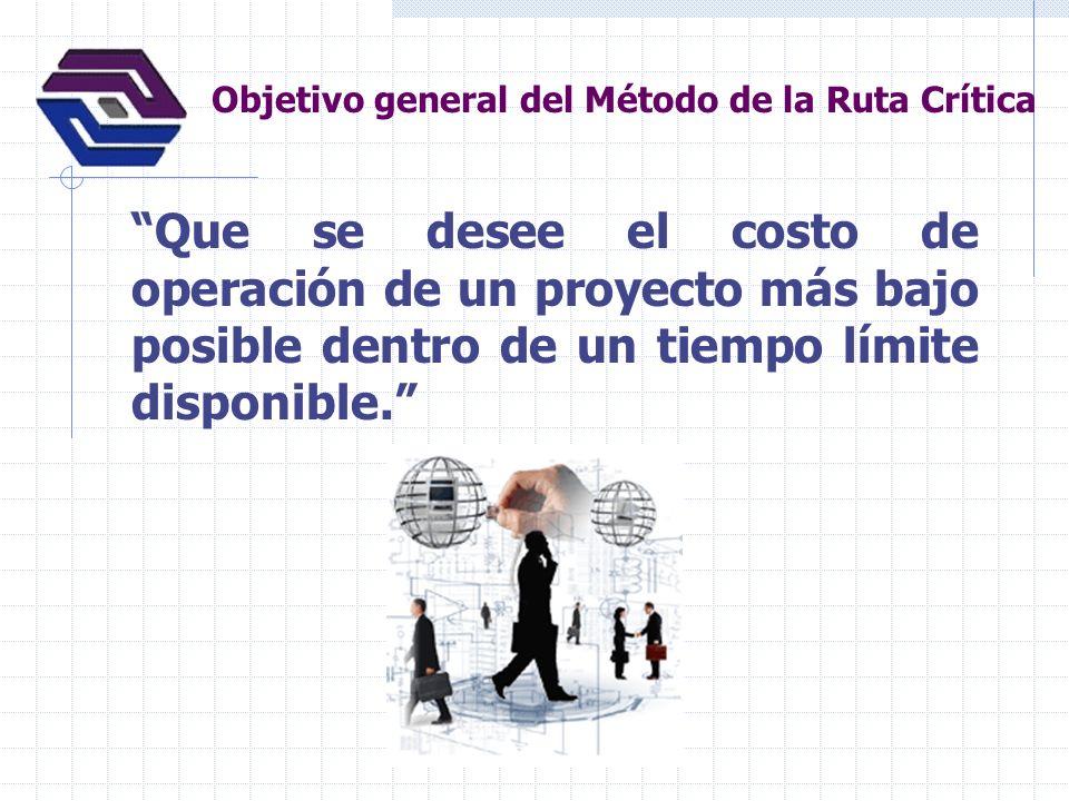 Objetivo general del Método de la Ruta Crítica Que se desee el costo de operación de un proyecto más bajo posible dentro de un tiempo límite disponibl