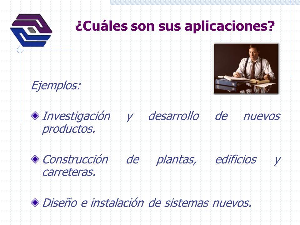 ¿Cuáles son sus aplicaciones? Ejemplos: Investigación y desarrollo de nuevos productos. Construcción de plantas, edificios y carreteras. Diseño e inst
