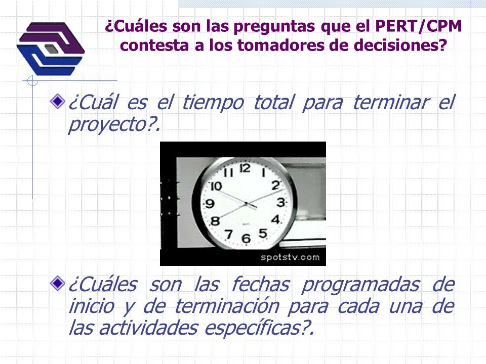 ¿Cuáles son las preguntas que el PERT/CPM contesta a los tomadores de decisiones? ¿Cuál es el tiempo total para terminar el proyecto?. ¿Cuáles son las