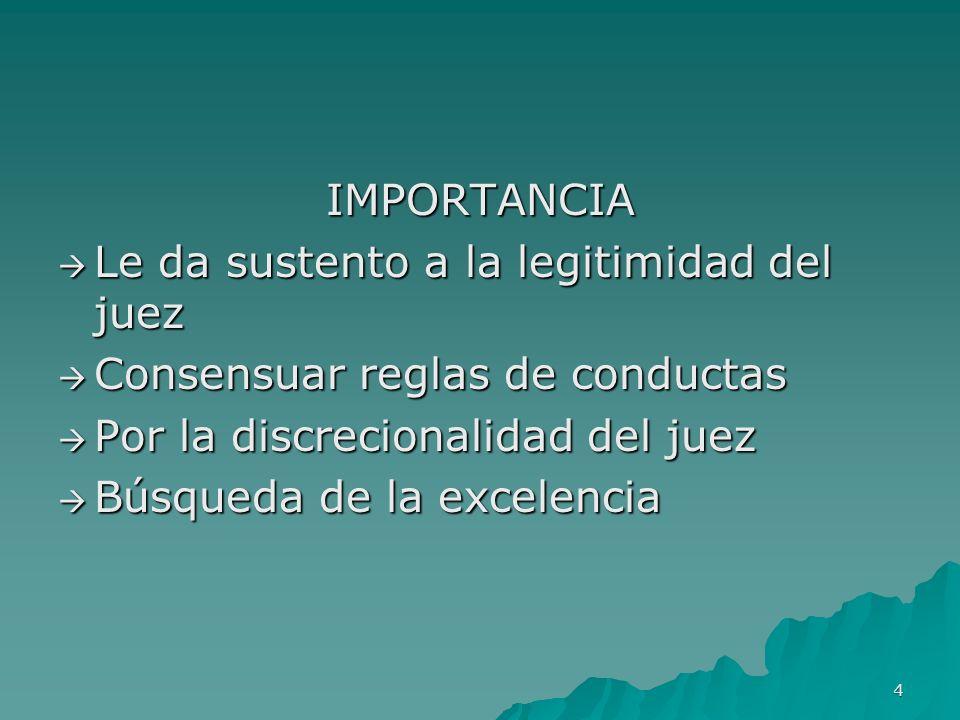 4 IMPORTANCIA Le da sustento a la legitimidad del juez Le da sustento a la legitimidad del juez Consensuar reglas de conductas Consensuar reglas de co