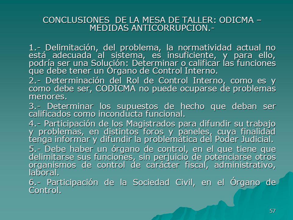 57 CONCLUSIONES DE LA MESA DE TALLER: ODICMA – MEDIDAS ANTICORRUPCION.- 1.- Delimitación, del problema, la normatividad actual no está adecuada al sis