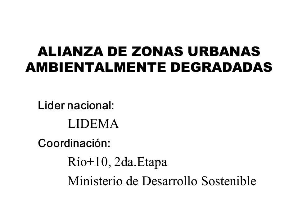 ALIANZA DE ZONAS URBANAS AMBIENTALMENTE DEGRADADAS Lider nacional: LIDEMA Coordinación: Río+10, 2da.Etapa Ministerio de Desarrollo Sostenible