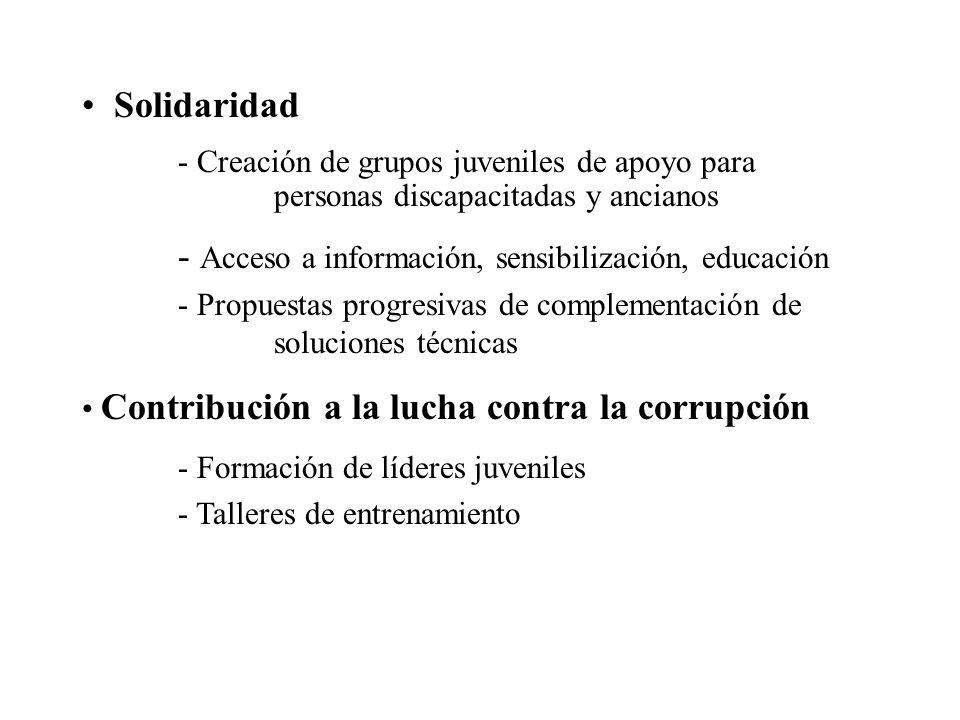 Solidaridad - Creación de grupos juveniles de apoyo para personas discapacitadas y ancianos - Acceso a información, sensibilización, educación - Propu