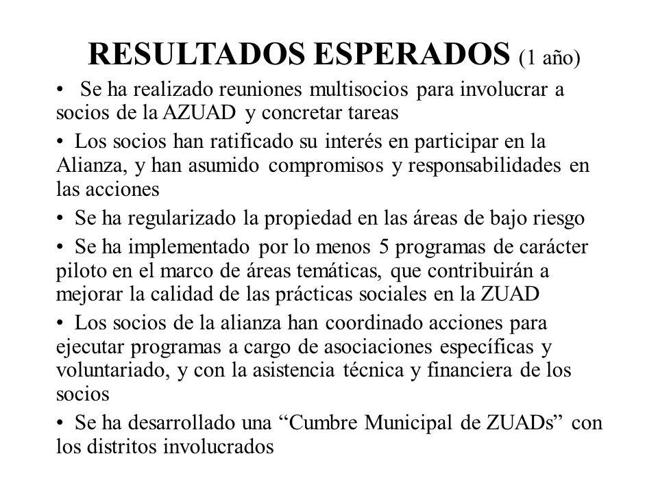 RESULTADOS ESPERADOS (1 año) Se ha realizado reuniones multisocios para involucrar a socios de la AZUAD y concretar tareas Los socios han ratificado s
