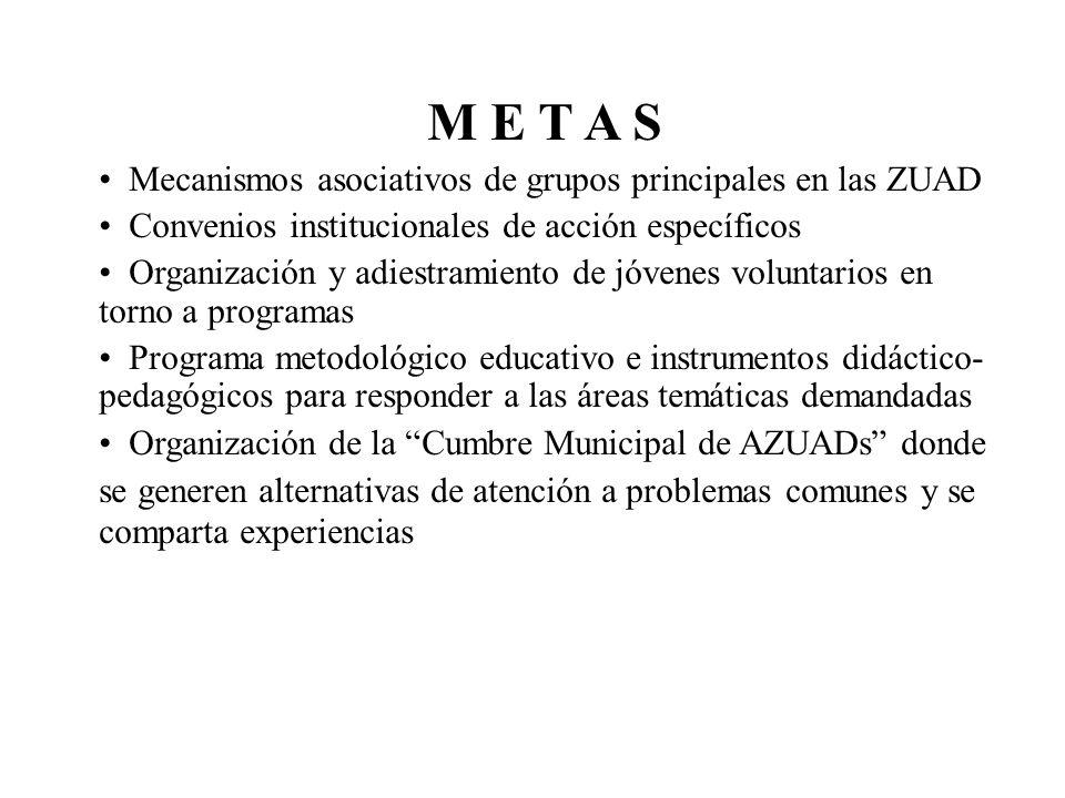 M E T A S Mecanismos asociativos de grupos principales en las ZUAD Convenios institucionales de acción específicos Organización y adiestramiento de jó