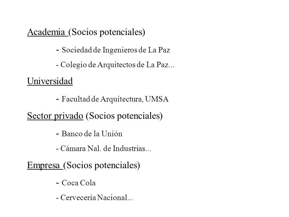 Academia (Socios potenciales) - Sociedad de Ingenieros de La Paz - Colegio de Arquitectos de La Paz... Universidad - Facultad de Arquitectura, UMSA Se