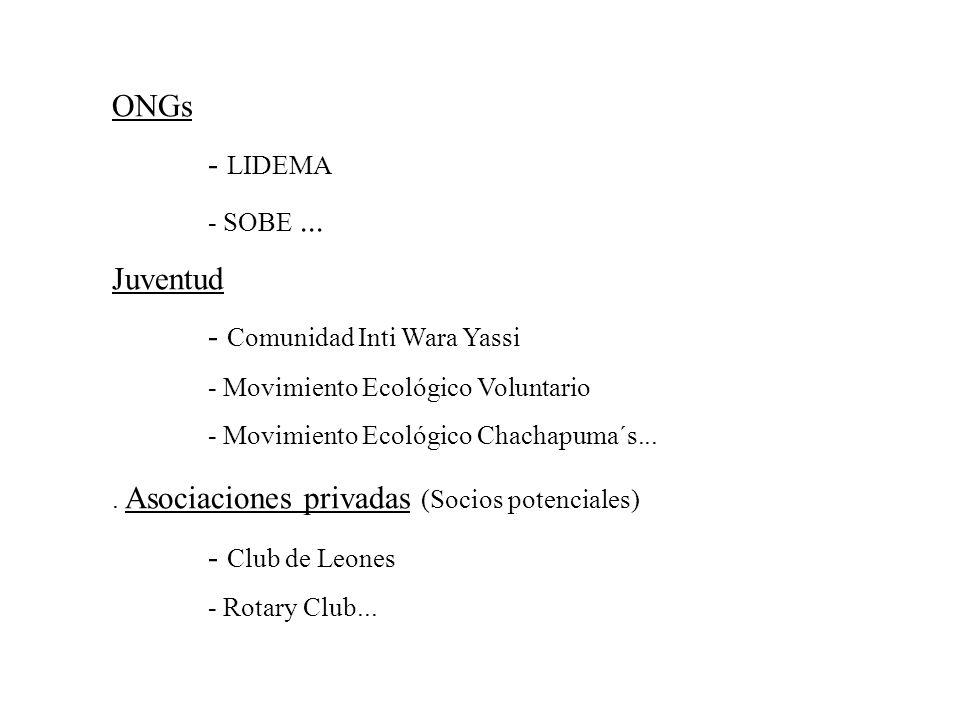ONGs - LIDEMA - SOBE... Juventud - Comunidad Inti Wara Yassi - Movimiento Ecológico Voluntario - Movimiento Ecológico Chachapuma´s.... Asociaciones pr