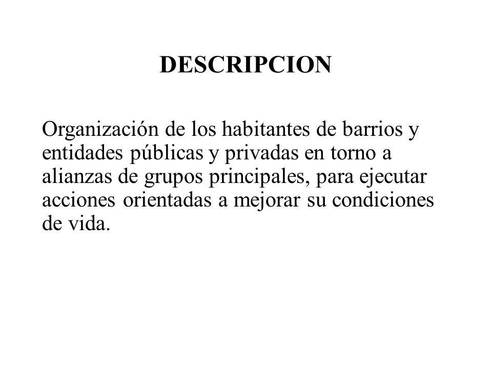 DESCRIPCION Organización de los habitantes de barrios y entidades públicas y privadas en torno a alianzas de grupos principales, para ejecutar accione
