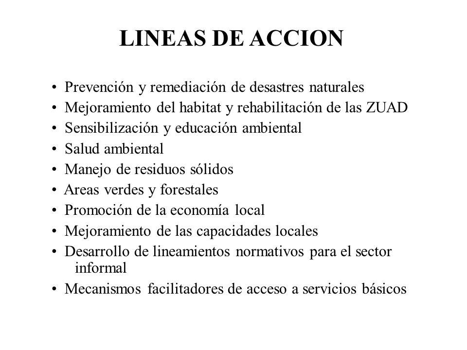 LINEAS DE ACCION Prevención y remediación de desastres naturales Mejoramiento del habitat y rehabilitación de las ZUAD Sensibilización y educación amb