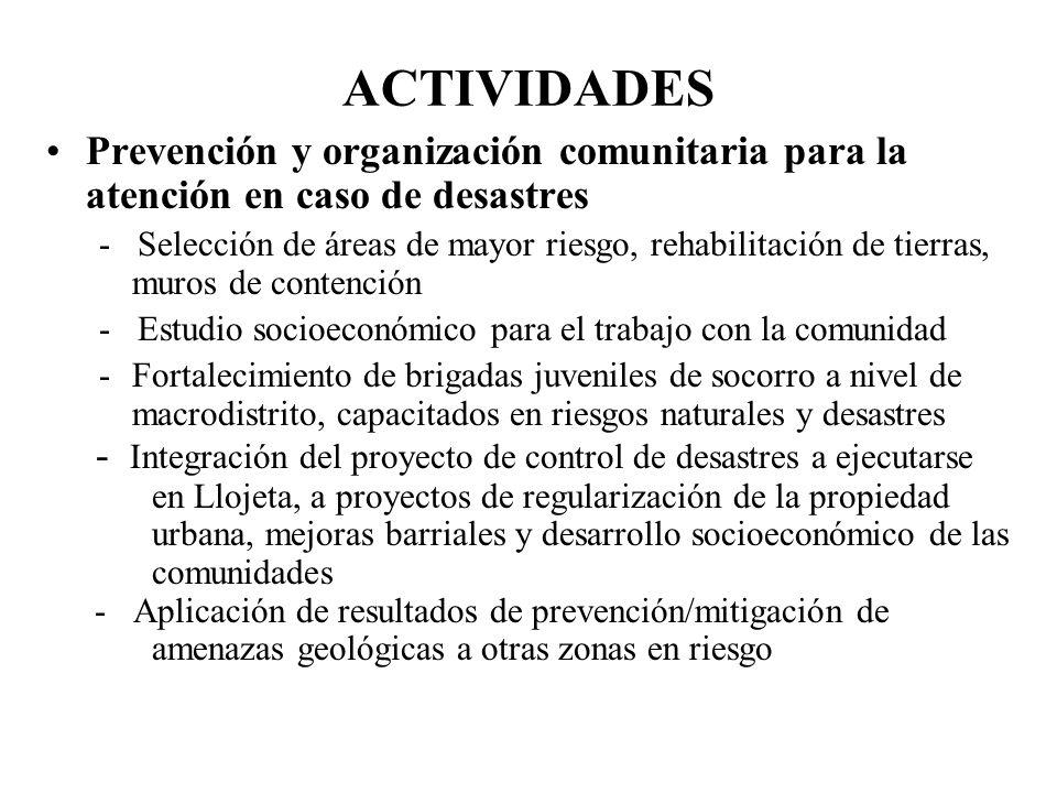 ACTIVIDADES Prevención y organización comunitaria para la atención en caso de desastres - Selección de áreas de mayor riesgo, rehabilitación de tierra