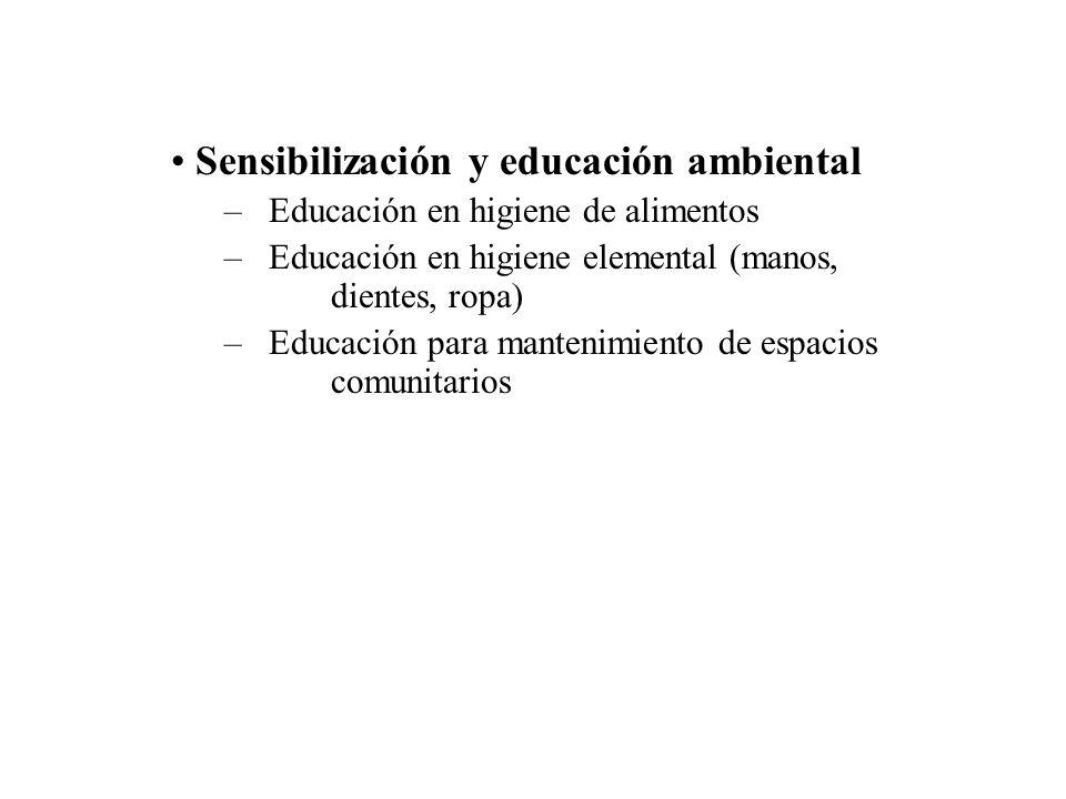 Sensibilización y educación ambiental – Educación en higiene de alimentos – Educación en higiene elemental (manos, dientes, ropa) – Educación para man