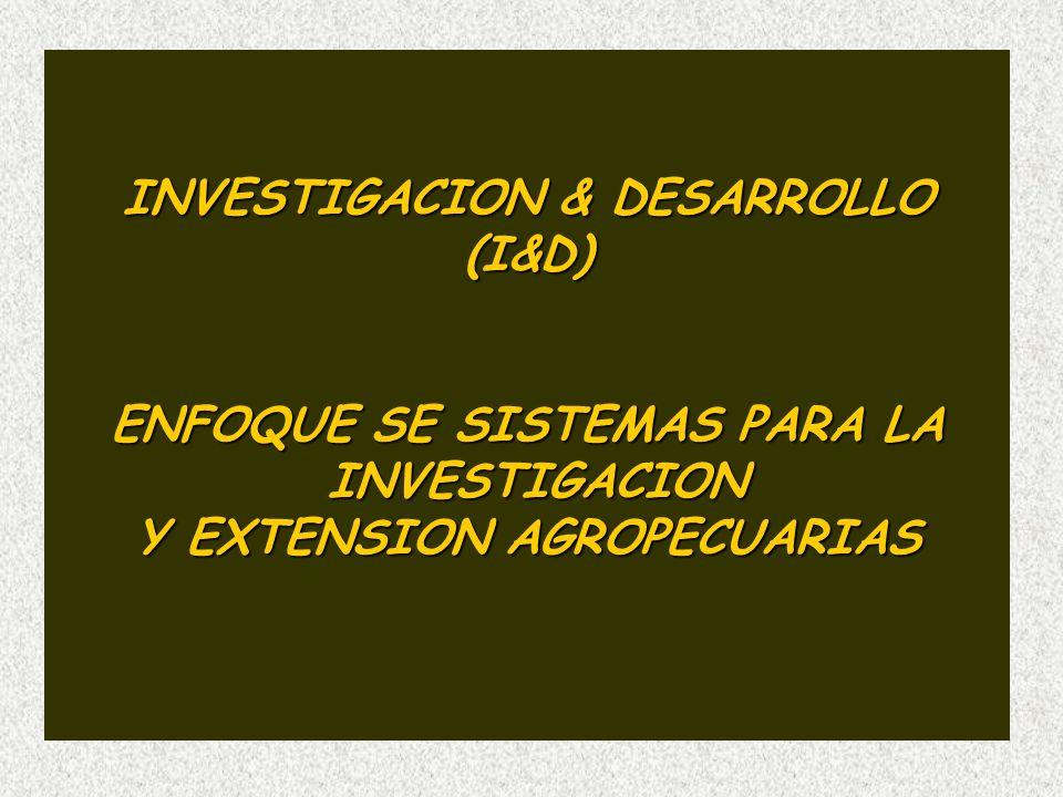 INVESTIGACION & DESARROLLO (I&D) ENFOQUE SE SISTEMAS PARA LA INVESTIGACION INVESTIGACION Y EXTENSION AGROPECUARIAS
