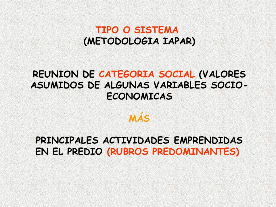 TIPO O SISTEMA (METODOLOGIA IAPAR) REUNION DE CATEGORIA SOCIAL (VALORES ASUMIDOS DE ALGUNAS VARIABLES SOCIO- ECONOMICAS MÁS PRINCIPALES ACTIVIDADES EM