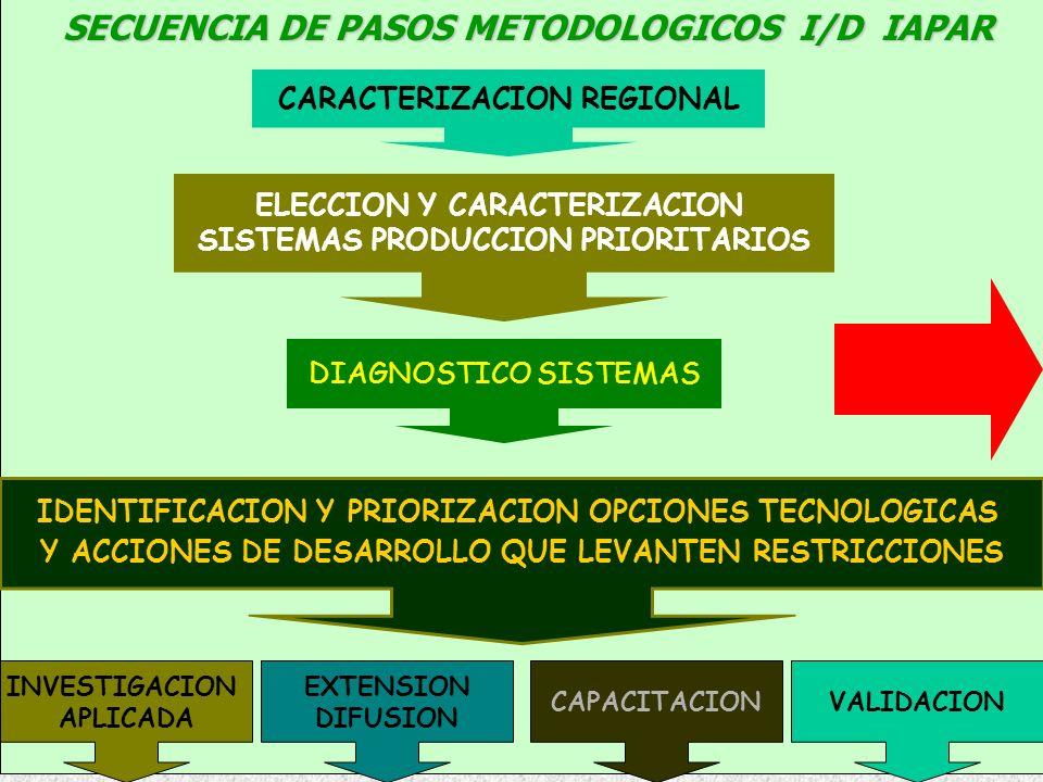 CARACTERIZACION REGIONAL ELECCION Y CARACTERIZACION SISTEMAS PRODUCCION PRIORITARIOS DIAGNOSTICO SISTEMAS IDENTIFICACION Y PRIORIZACION OPCIONES TECNO