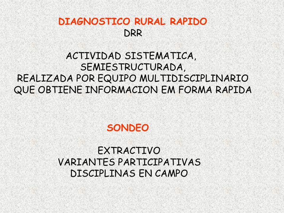 DIAGNOSTICO RURAL RAPIDO DRR ACTIVIDAD SISTEMATICA, SEMIESTRUCTURADA, REALIZADA POR EQUIPO MULTIDISCIPLINARIO QUE OBTIENE INFORMACION EM FORMA RAPIDA