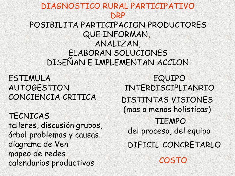 DIAGNOSTICO RURAL PARTICIPATIVO DRP POSIBILITA PARTICIPACION PRODUCTORES QUE INFORMAN, ANALIZAN, ELABORAN SOLUCIONES DISEÑAN E IMPLEMENTAN ACCION ESTI