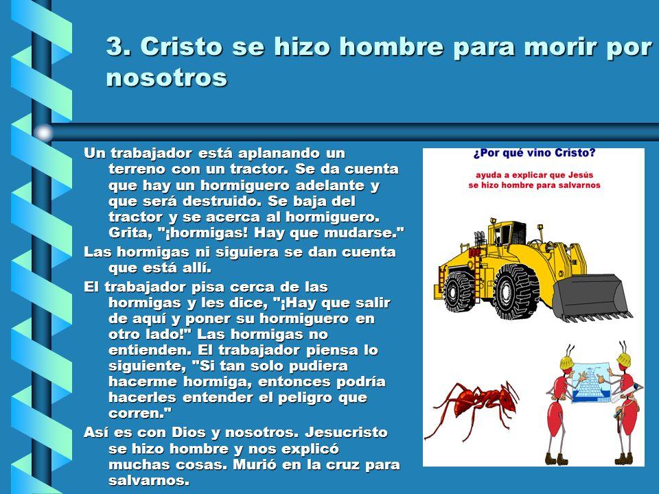 3. Cristo se hizo hombre para morir por nosotros Un trabajador está aplanando un terreno con un tractor. Se da cuenta que hay un hormiguero adelante y