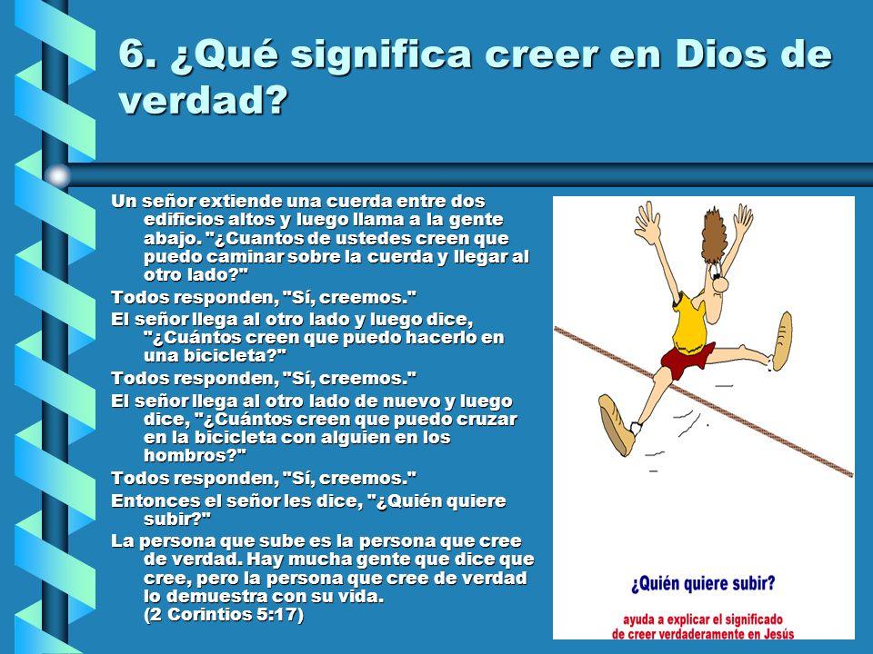 6. ¿Qué significa creer en Dios de verdad? Un señor extiende una cuerda entre dos edificios altos y luego llama a la gente abajo.