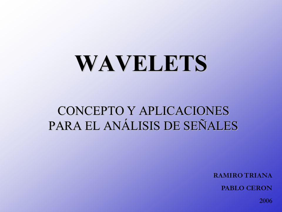 WAVELETS CONCEPTO Y APLICACIONES PARA EL ANÁLISIS DE SEÑALES RAMIRO TRIANA PABLO CERON 2006