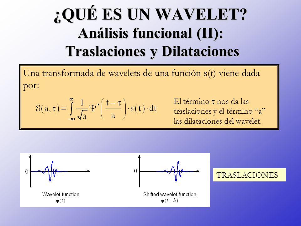 ¿QUÉ ES UN WAVELET? Análisis funcional (II): Traslaciones y Dilataciones Una transformada de wavelets de una función s(t) viene dada por: El término n