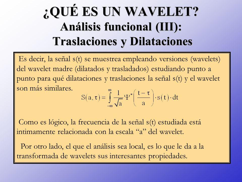 ¿QUÉ ES UN WAVELET? Análisis funcional (III): Traslaciones y Dilataciones Es decir, la señal s(t) se muestrea empleando versiones (wavelets) del wavel