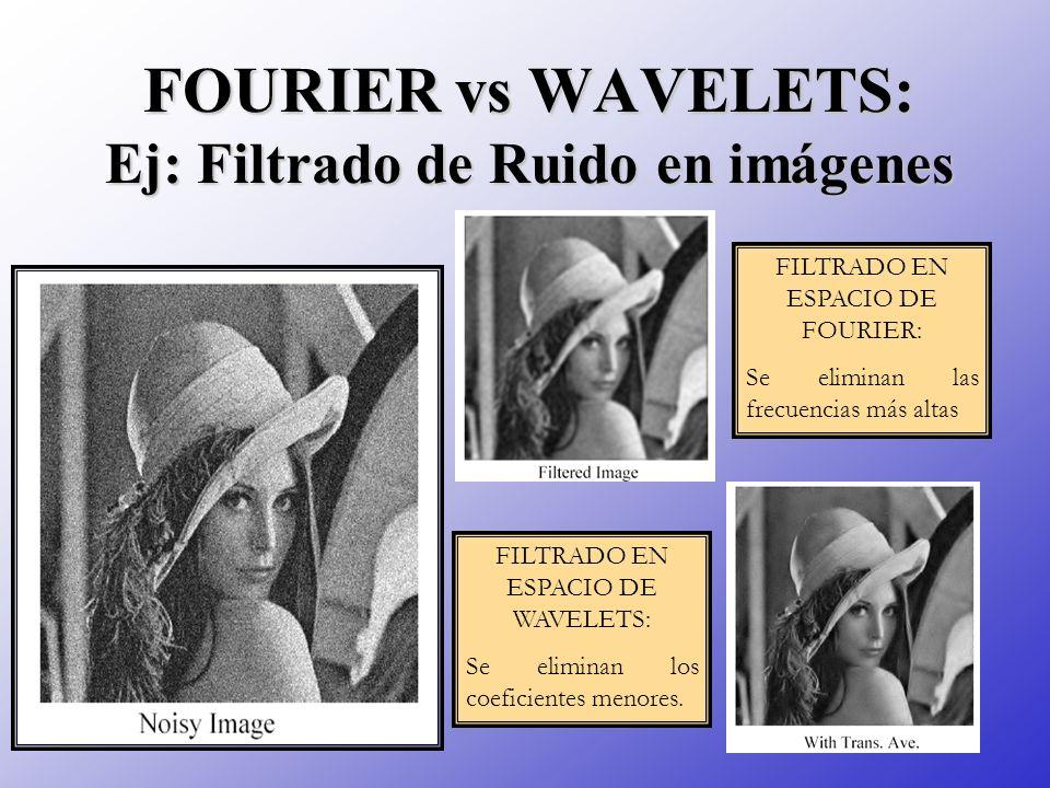 FOURIER vs WAVELETS: Ej: Filtrado de Ruido en imágenes FILTRADO EN ESPACIO DE FOURIER: Se eliminan las frecuencias más altas FILTRADO EN ESPACIO DE WA