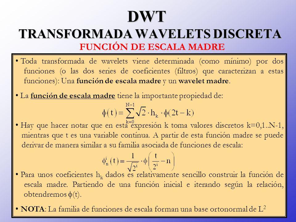 DWT TRANSFORMADA WAVELETS DISCRETA Toda transformada de wavelets viene determinada (como mínimo) por dos funciones (o las dos series de coeficientes (