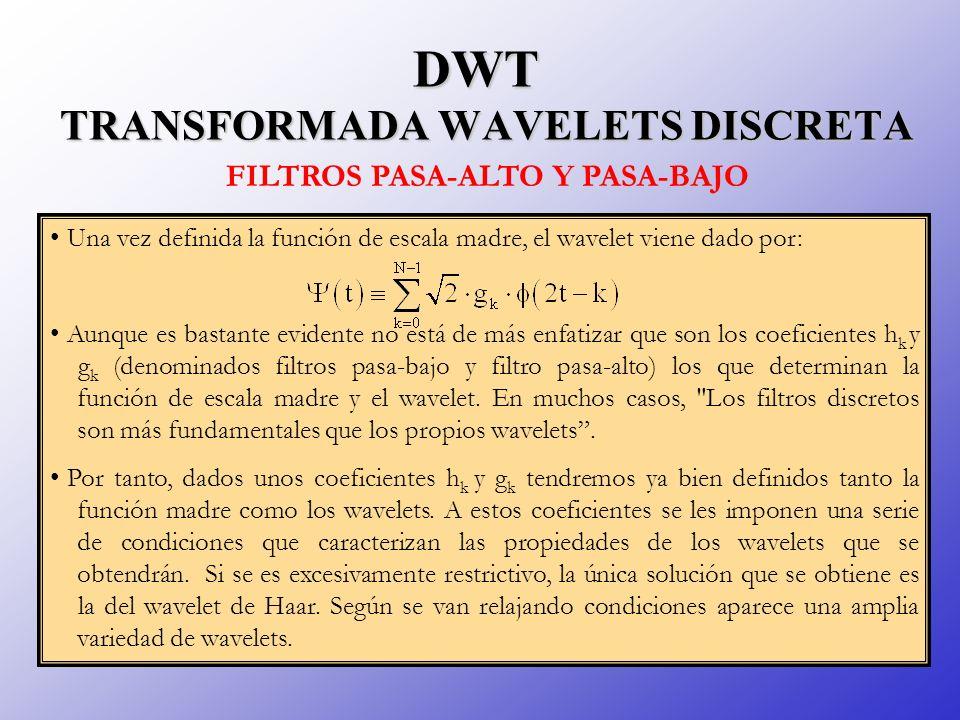 DWT TRANSFORMADA WAVELETS DISCRETA Una vez definida la función de escala madre, el wavelet viene dado por: Aunque es bastante evidente no está de más