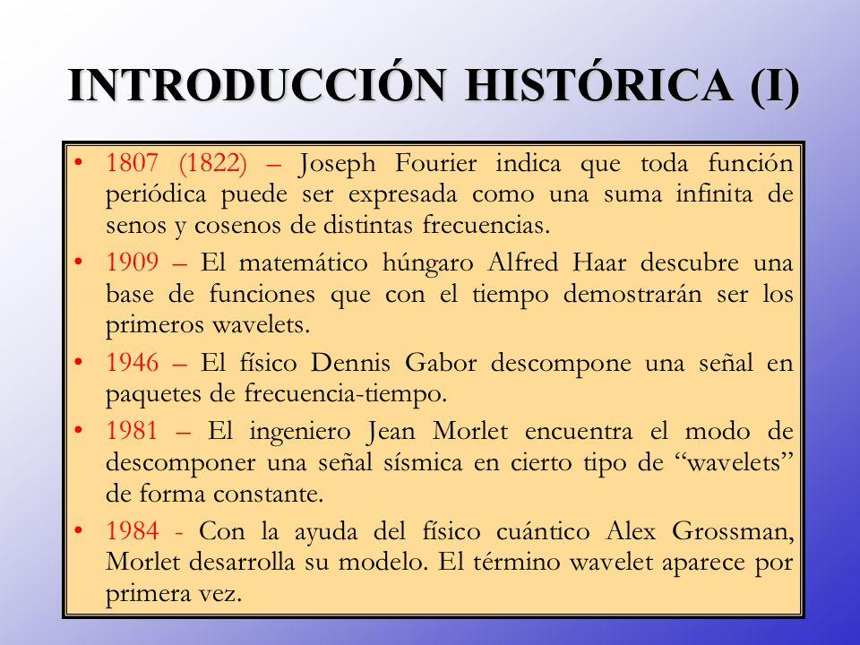 INTRODUCCIÓN HISTÓRICA (I) 1807 (1822) – Joseph Fourier indica que toda función periódica puede ser expresada como una suma infinita de senos y coseno