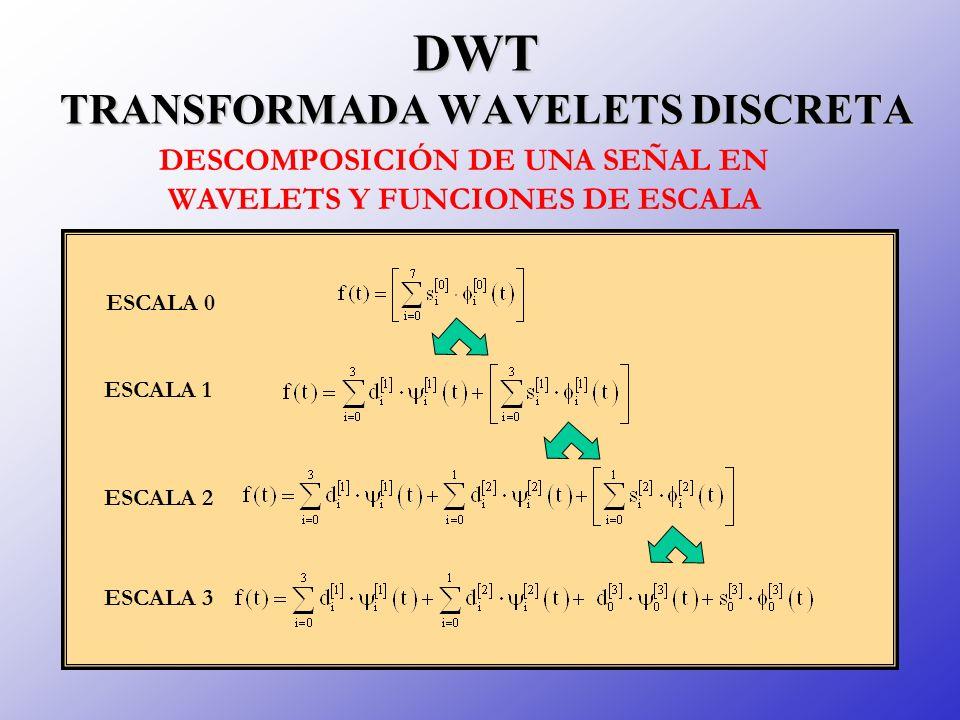 ESCALA 0 ESCALA 1 ESCALA 2 ESCALA 3 DWT TRANSFORMADA WAVELETS DISCRETA DESCOMPOSICIÓN DE UNA SEÑAL EN WAVELETS Y FUNCIONES DE ESCALA