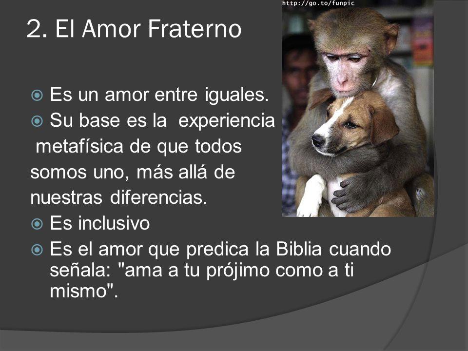 2. El Amor Fraterno Es un amor entre iguales. Su base es la experiencia metafísica de que todos somos uno, más allá de nuestras diferencias. Es inclus