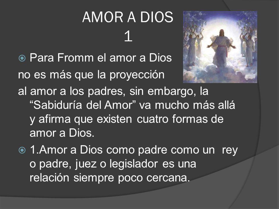 AMOR A DIOS 1 Para Fromm el amor a Dios no es más que la proyección al amor a los padres, sin embargo, la Sabiduría del Amor va mucho más allá y afirm