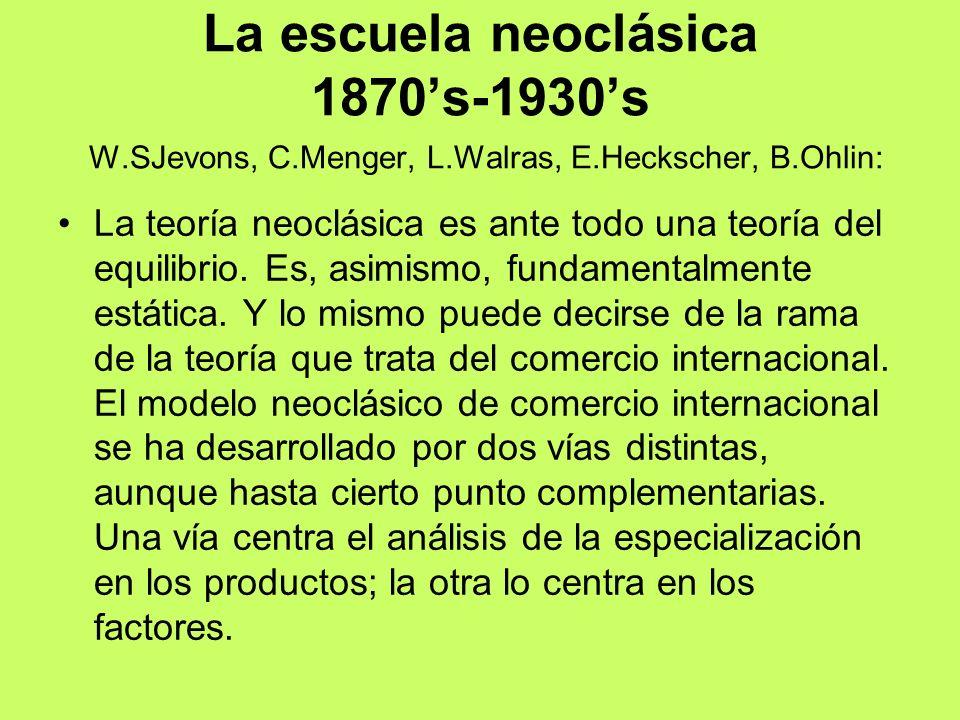 La escuela neoclásica 1870s-1930s W.SJevons, C.Menger, L.Walras, E.Heckscher, B.Ohlin: La teoría neoclásica es ante todo una teoría del equilibrio. Es