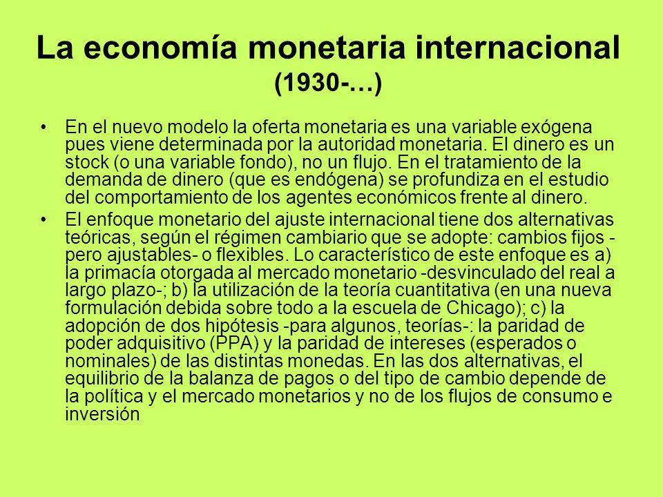 La economía monetaria internacional (1930-…) En el nuevo modelo la oferta monetaria es una variable exógena pues viene determinada por la autoridad mo