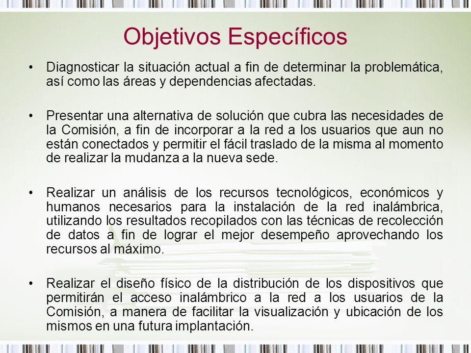 Objetivos Específicos Diagnosticar la situación actual a fin de determinar la problemática, así como las áreas y dependencias afectadas. Presentar una