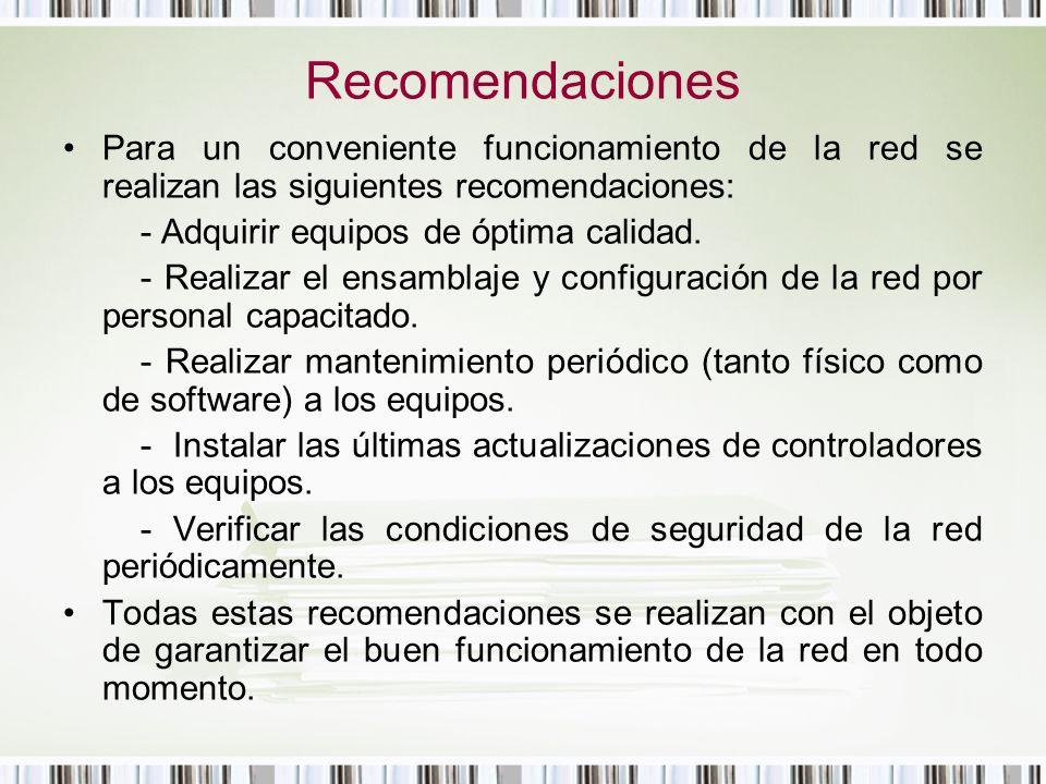 Recomendaciones Para un conveniente funcionamiento de la red se realizan las siguientes recomendaciones: - Adquirir equipos de óptima calidad. - Reali