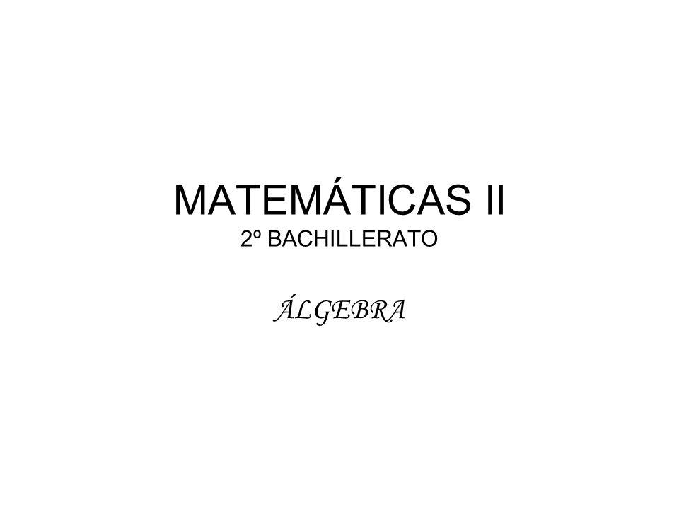 MATEMÁTICAS II 2º BACHILLERATO ÁLGEBRA