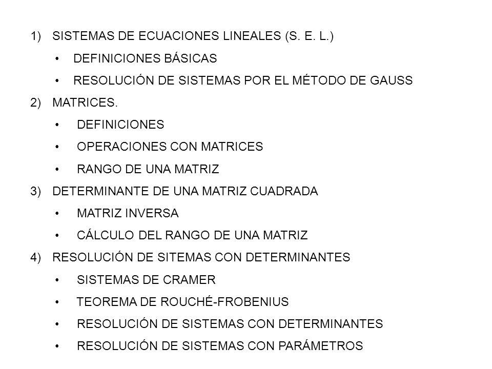 SISTEMAS DE ECUACIONES LINEALES (S.E.