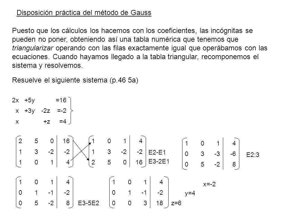 Resuelve el siguiente sistema (p.46 5a) 25016 13-2 1014 1014 13 25016 E2-E1 E3-2E1 1014 03-3-6 05-28 E2:3 1014 01-2 05 8 E3-5E2 1014 01-2 00318 z=6 y=