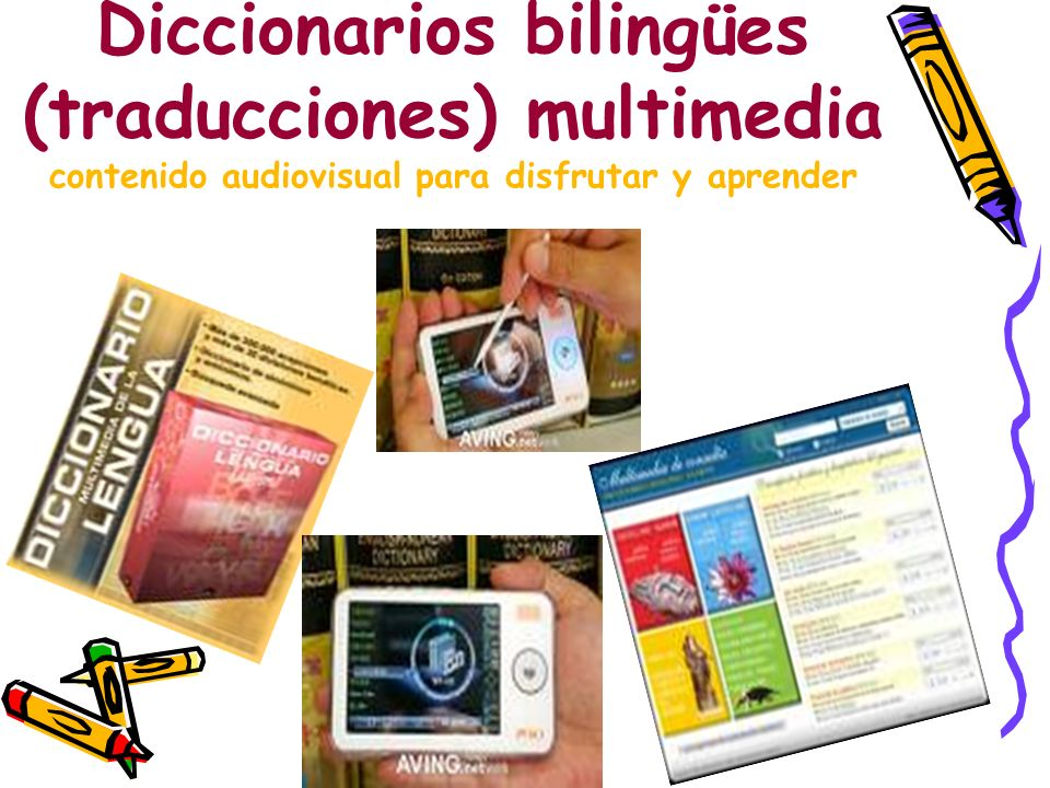 Diccionarios bilingües (traducciones) multimedia contenido audiovisual para disfrutar y aprender