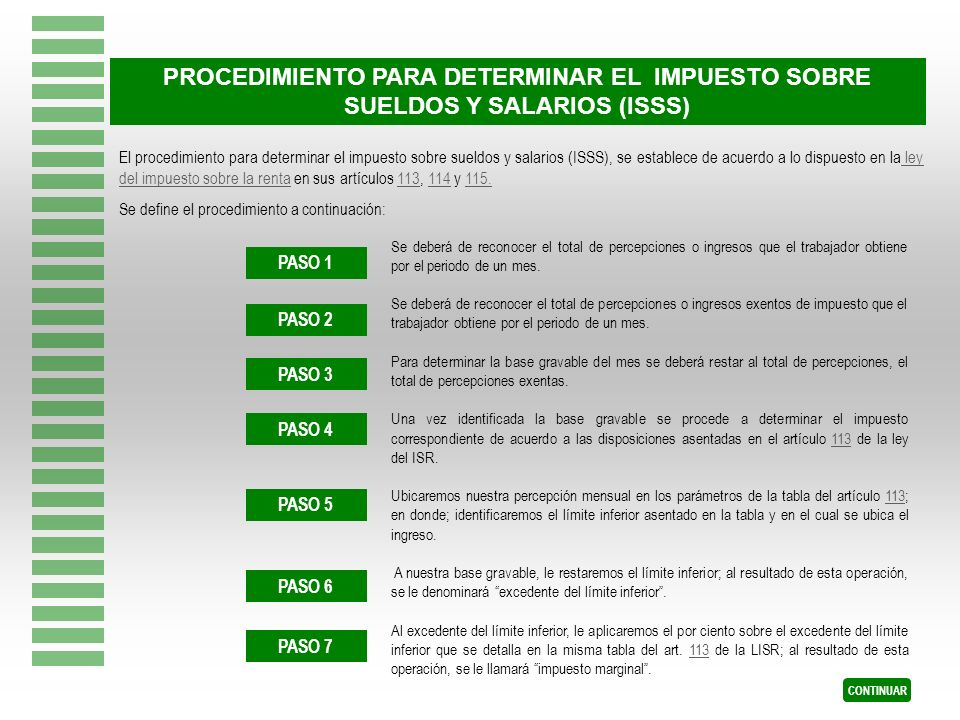 El procedimiento para determinar el impuesto sobre sueldos y salarios (ISSS), se establece de acuerdo a lo dispuesto en la ley del impuesto sobre la r