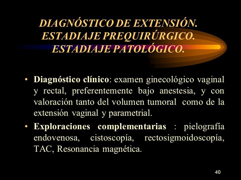 39 DIAGNOSTICO DE SOSPECHA Hemorragia genital acíclica, irregular e intermitente, que a menudo se desencadena por una acción mecánica directa sobre la