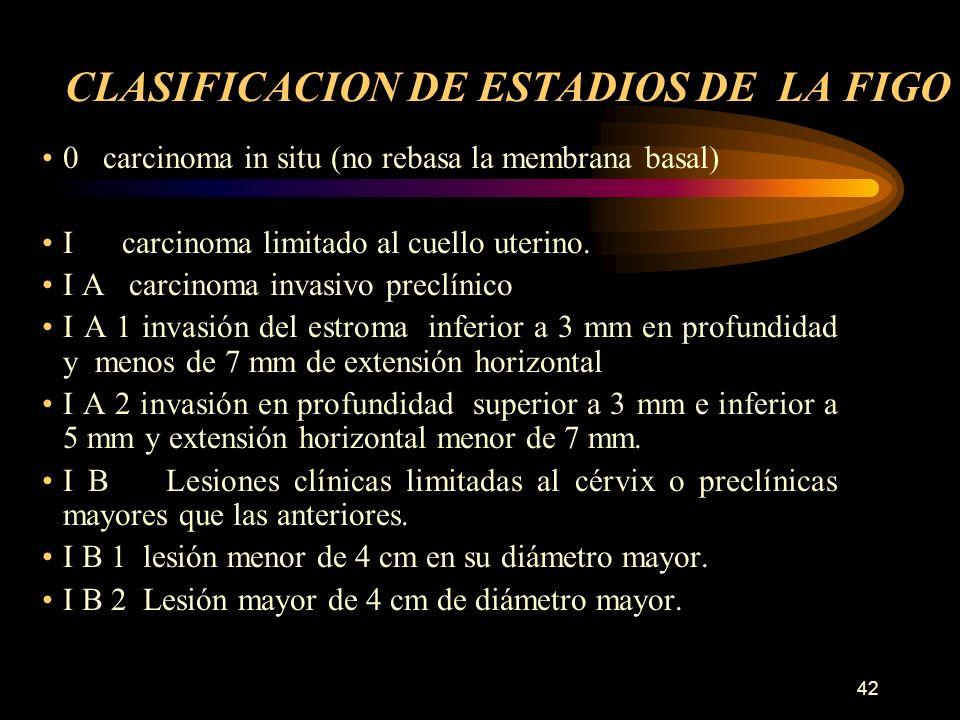 41 Estadiaje patológico Es el patólogo (en aquellos casos en los que se realizó tratamiento quirúrgico) quien establecerá el estadiaje definitivo. Tan