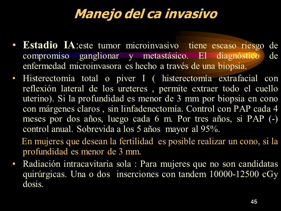 44 COMPROMISO GANGLIONAR ESTADIO I ESTADIO II ESTADIO III 15-20 % 25-40 % Al menos 50% de compromiso