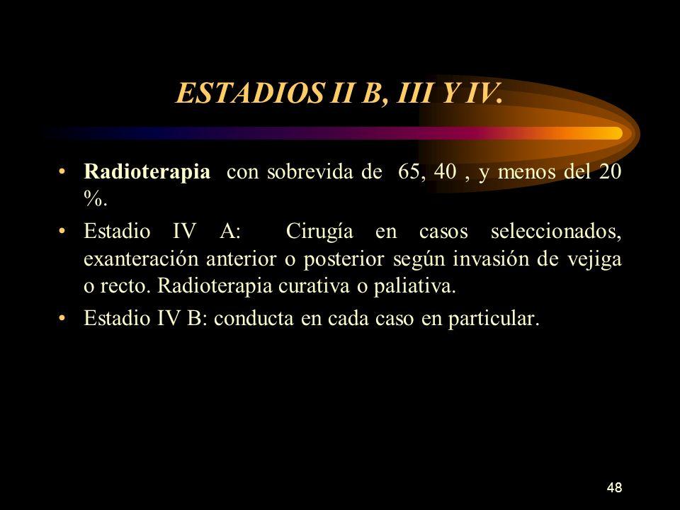 47 Estadio IB y IIA Radioterapia: Después de la cirugía si la pieza operatoria presenta márgenes comprometidos, o hay metástasis a ganglios pélvicos o