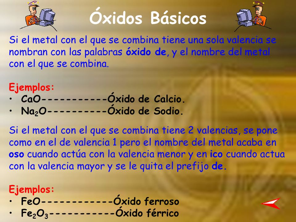 Óxidos Ácidos Al igual que los óxidos básicos, si tiene una sola valencia se nombran con las palabras óxido de y si tiene más de dos valencias se nombran con los prefijos –oso y –ico.