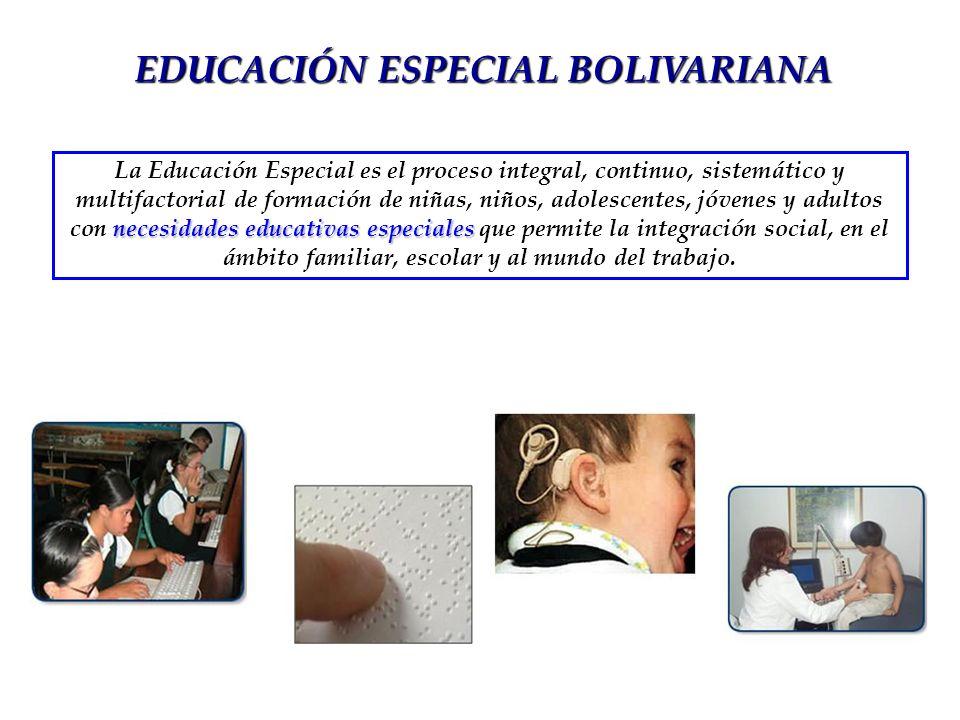 EDUCACIÓN ESPECIAL BOLIVARIANA necesidades educativas especiales La Educación Especial es el proceso integral, continuo, sistemático y multifactorial