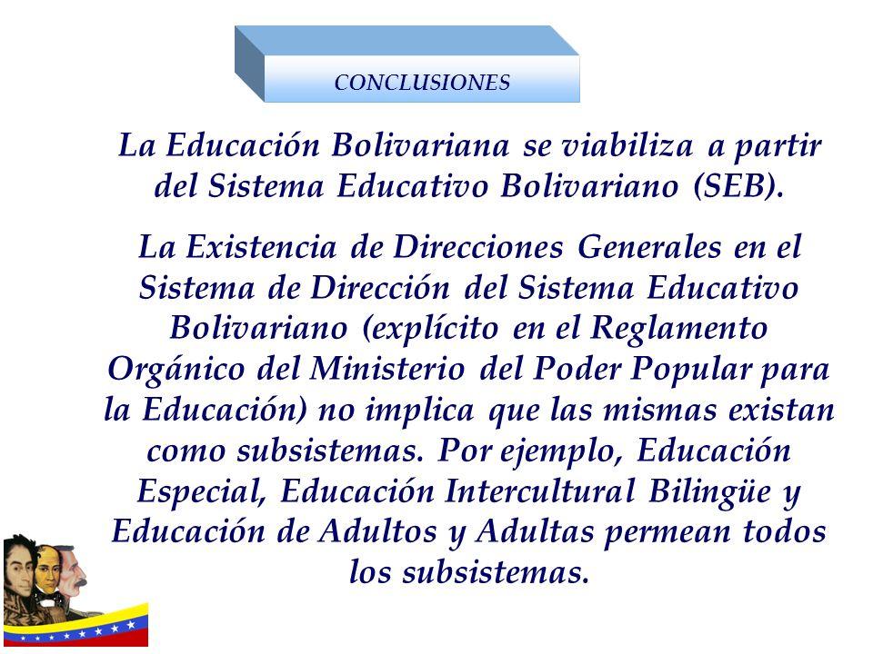 La Educación Bolivariana se viabiliza a partir del Sistema Educativo Bolivariano (SEB). La Existencia de Direcciones Generales en el Sistema de Direcc