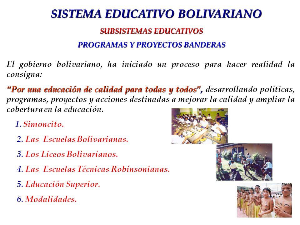 El gobierno bolivariano, ha iniciado un proceso para hacer realidad la consigna: Por una educación de calidad para todas y todos, Por una educación de