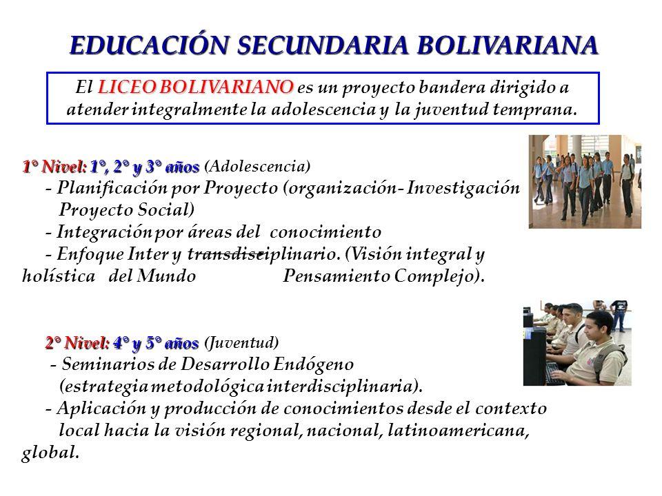 LICEO BOLIVARIANO El LICEO BOLIVARIANO es un proyecto bandera dirigido a atender integralmente la adolescencia y la juventud temprana. 1° Nivel:1°, 2°